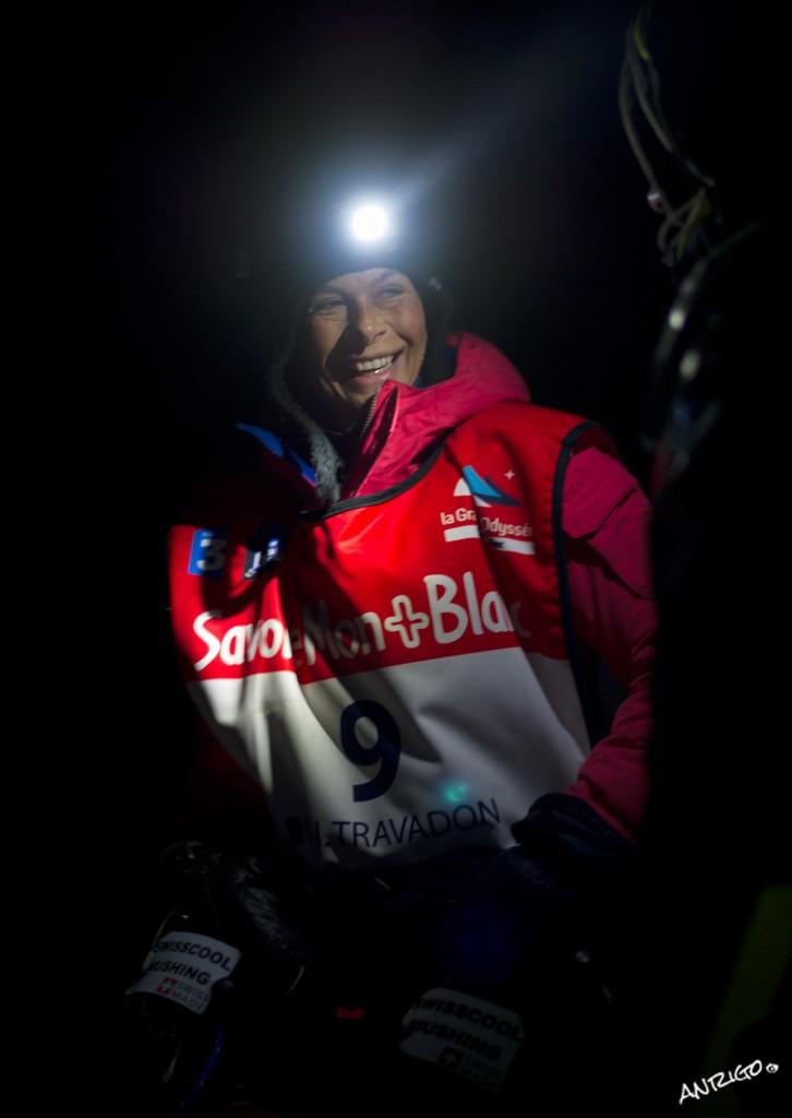 LA GRANDE ODYSSEE 2013 - 9 isabelle TRAVADON depart ETAPE 9b  bivouac polaire col du Mont Cenis