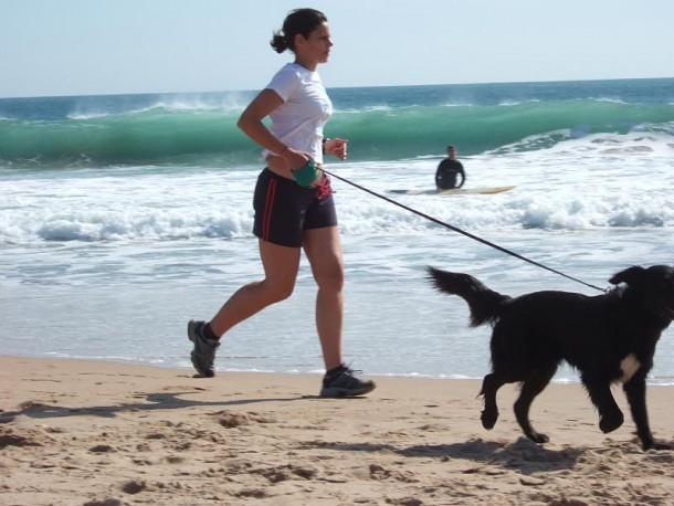 Footing avec son chien à la plage