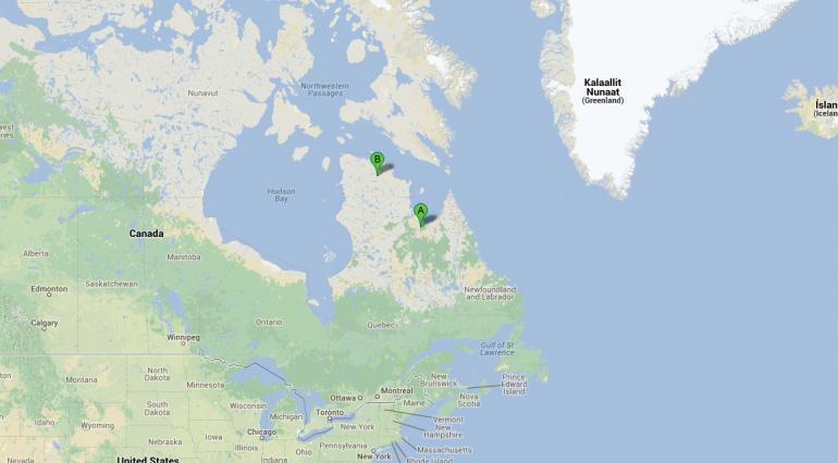 Carte de l'expédition Parc National des Pingualuit