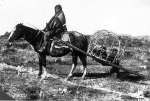 Indien à cheval et travois