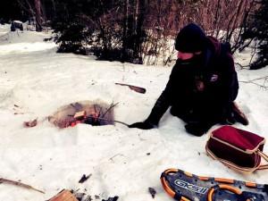 Pain grillé dans la neige