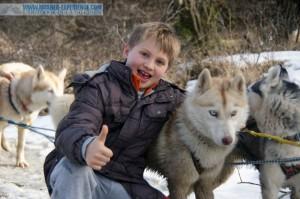 Enfant avec chien de traineau