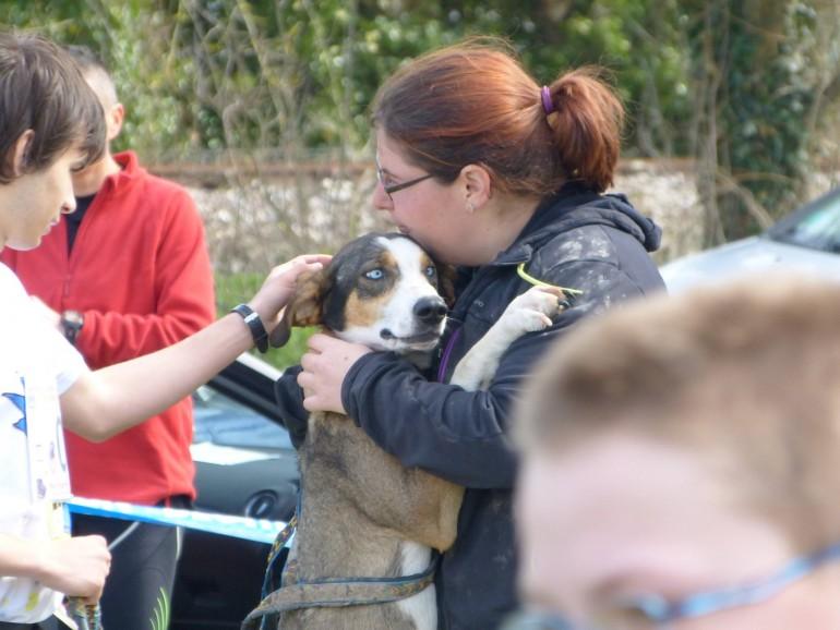 Mathilde en mode câlin avec un de ses chiens