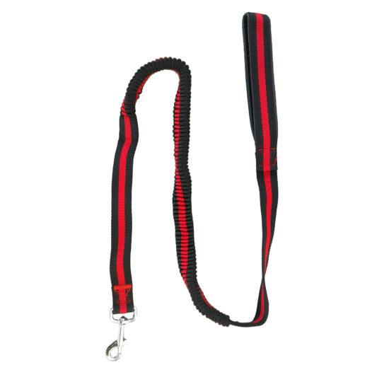 Laisse amortisseur canicross laisse élastique extensible rouge et noir