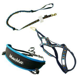 kit canicross equipement ligne baudrier harnais canicross bleu