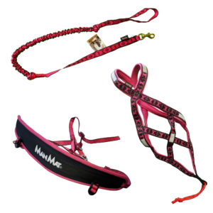 kit canicross equipement ligne baudrier harnais canicross rose