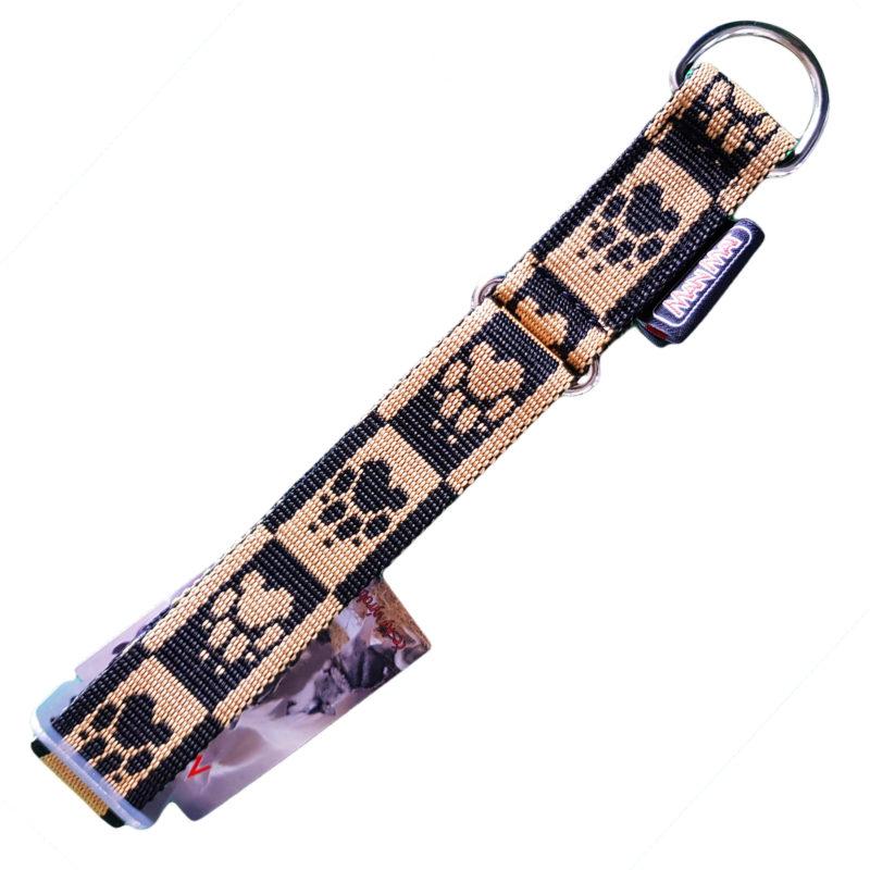 collier pour chien sport nylon manmat patte chien beige noir