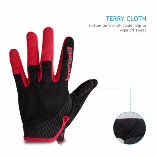 gants vtt canivtt long rouge éponge transpirant