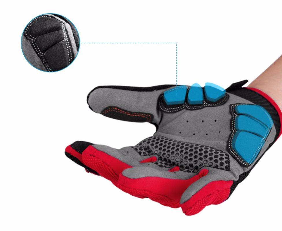 gants vtt canivtt long rouge amortisseur protection paume main