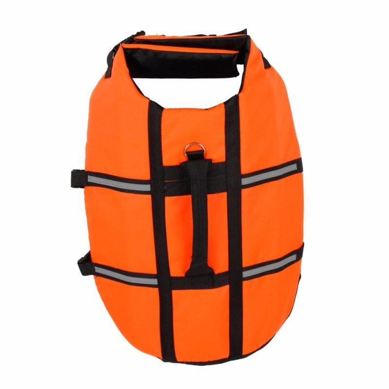 gilet de sauvetage pour chien orange attache laisse