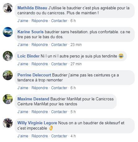 baudrier ou ceinture canicross - avis facebook