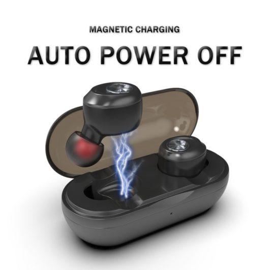 Écouteurs bluetooth sans fil chargement magnetique power