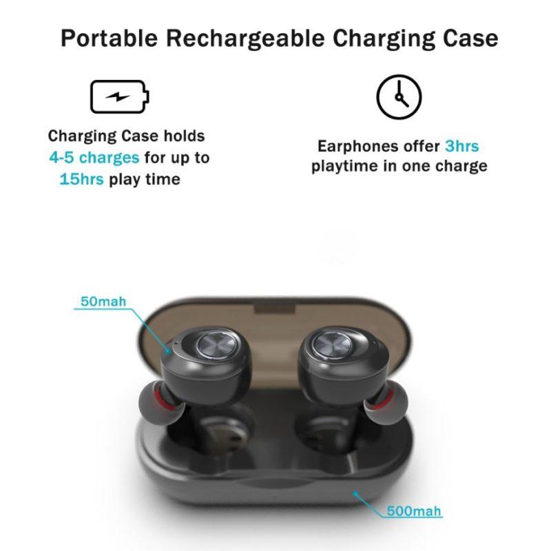 Écouteurs bluetooth sans fil recharge charge