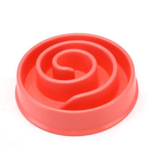 gamelle anti glouton chien mange trop vite rose