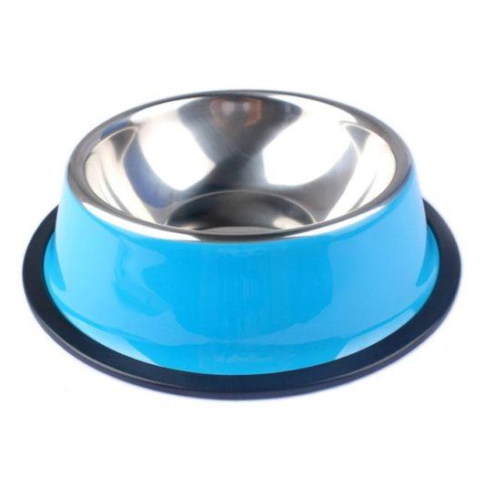 gamelle pour chien coloree en acier inoxydable bleu glacial