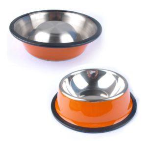 gamelle pour chien coloree en acier inoxydable orange dessus dessous