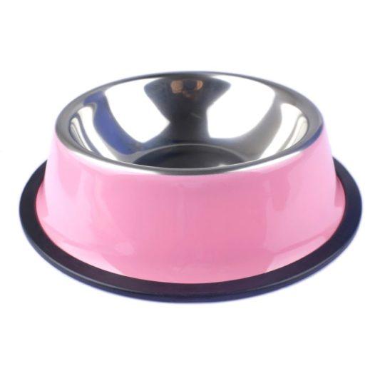 gamelle pour chien coloree en acier inoxydable rose