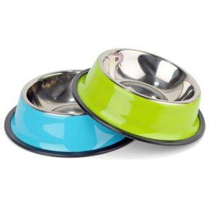 gamelle pour chien coloree en acier inoxydable vert bleu