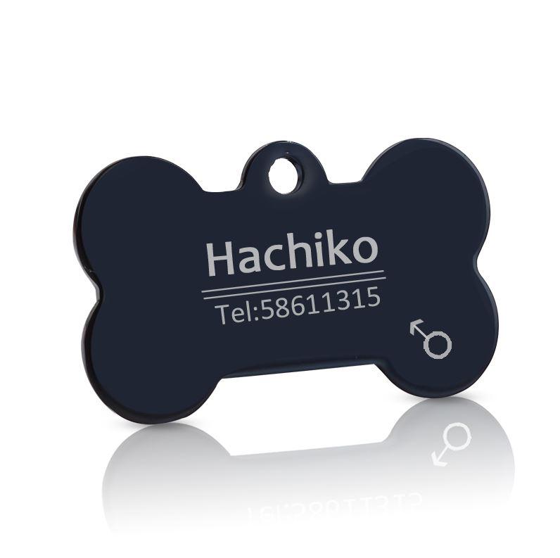 medaille chien os personnalise noir gravue offert