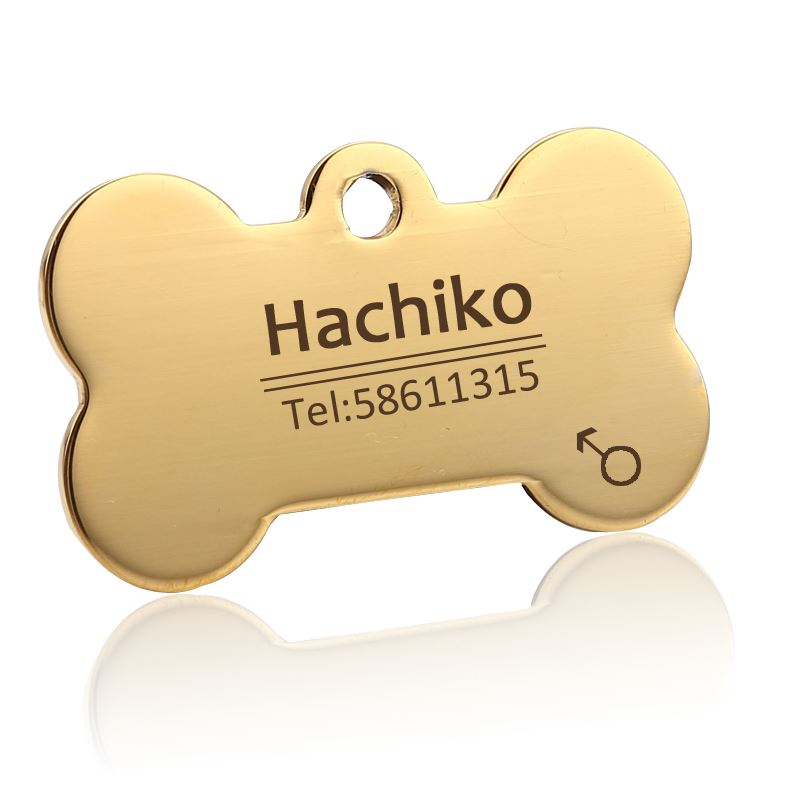 medaille chien os personnalise or gravue offert