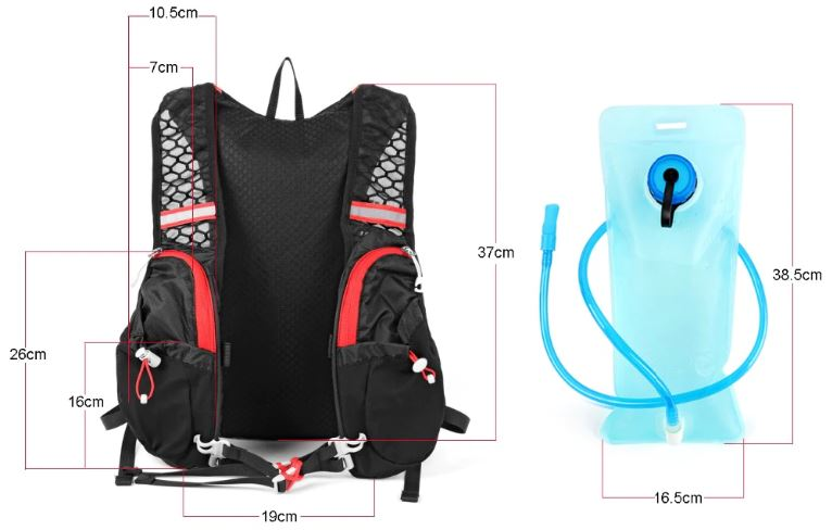 sac d'hydratation canitrail taille dimensions